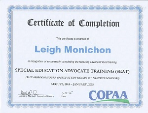 Leigh Monichon of Aspire Advocacy is SEAT Certified